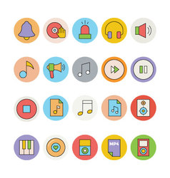 Music colored icons 6 vector