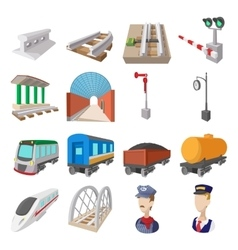 Railroad cartoon icons vector image