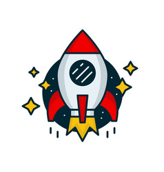 red retro rocket fly in space vector image vector image