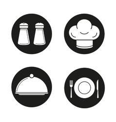 Restaurant kitchen equipment black icons set vector