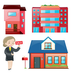 Sale agent and different types of accomodations vector