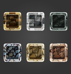 Set of shiny stone concave square button vector image vector image
