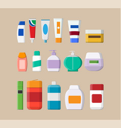 set of various color cosmetic bottles vector image vector image