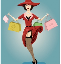 shopping pin up illustration vector image vector image