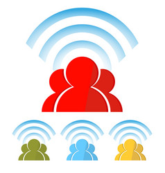 Silhouette of people with wireless information vector