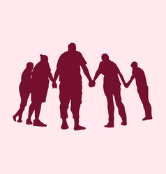Silhouette of praying people vector