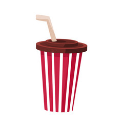 Soft drink in stripy paper cup with straw cinema vector