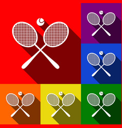 Tennis racket sign set of icons with flat vector
