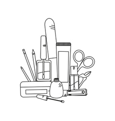 Beauty background with manicure tools vector
