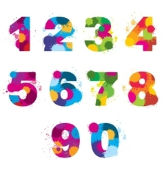 Numbers painted by colorful splashes vector