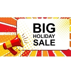 Megaphone with big holiday sale announcement flat vector