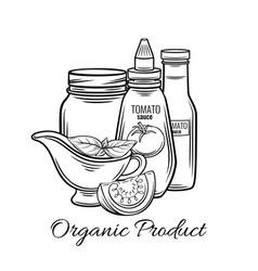 Hand drawn tomato sauce vector
