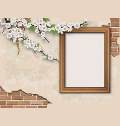 Tree branches and frame on vintage background vector