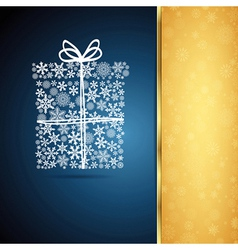 Christmas gift box snowflake design background vector image
