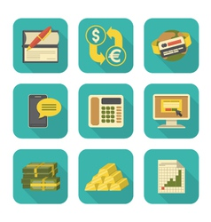 Modern flat financial icons set vector