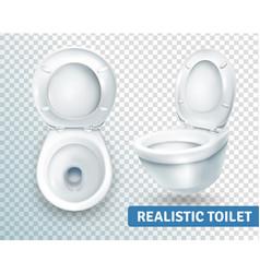 Toilet bowl realistic set vector