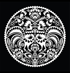 Polish folk art embroidery pattern with roosters vector image