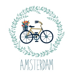 Cute amsterdam card with tulips in bycicle basket vector