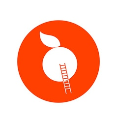 Apple with stairway round icon vector