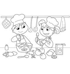 Young kids cooking vector image