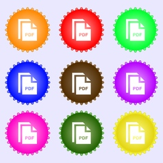 File pdf icon sign a set of nine different colored vector