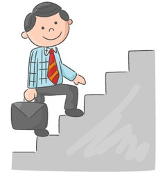 Cartoon man climbing stairs vector