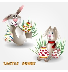 Easter bunny with easter eggs vector
