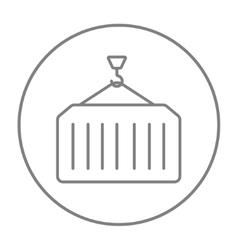 Cargo container line icon vector