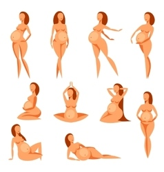 Set of stylized silhouettes pregnant women vector