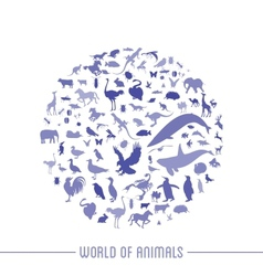 Blue globe outline made from animals icons vector image