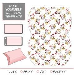 Favor gift box die cut box template vector