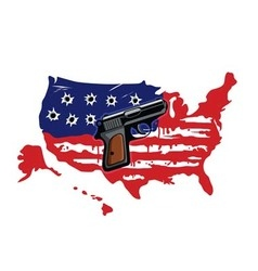 American flag with bullet holes and gun vector