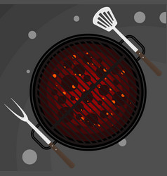 big fork and spatula on grill vector image