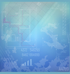 Blueprint with a heating system vector