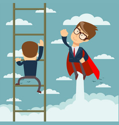 businessman superhero fly pass businessman vector image