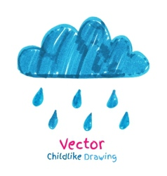 Childlike drawing of rainy cloud vector