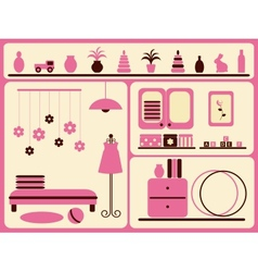 Childrens room interior and objects set vector image