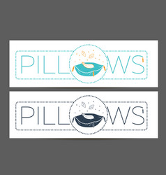Cleaning pillows linear style vector
