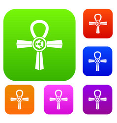 Egypt ankh symbol set color collection vector