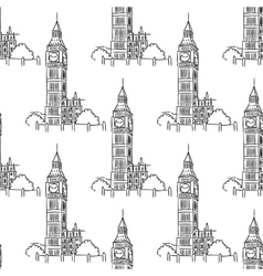 English big ben seamless pattern vector