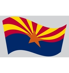 Flag of arizona waving on gray background vector