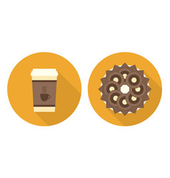 flat cup of coffee plate with cookies and wafers vector image