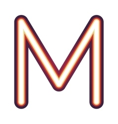 Glowing neon letter m vector