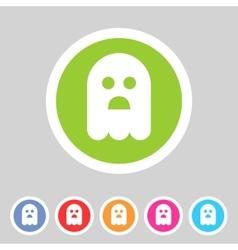 Halloween ghost flat icon badge vector