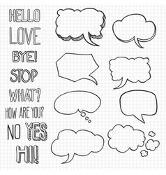 hand drawn emotional phrases and speech bubbles on vector image vector image
