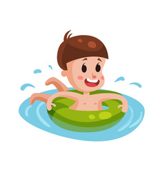 happy boy swimming with green inflatable buoy kid vector image