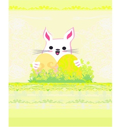 Happy easter bunny carrying egg vector