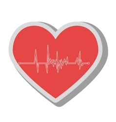 Heart waves medical icon vector
