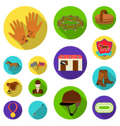 Hippodrome and horse flat icons in set collection vector