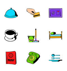 Hotel icons set cartoon style vector